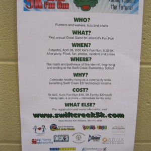 There was even a poster advertising our 5K Race next weekend