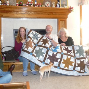 Elaine, Fred and SAO with Fred's Boxy Stars Quilt