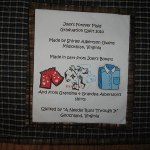 Label for Joey's Forever Plaid Quilt