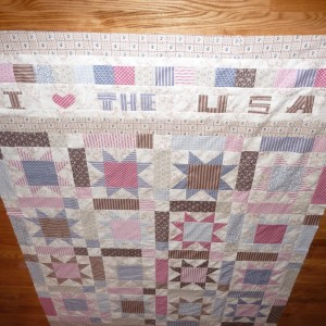 Quilt at funny angle I LOVE THE USA